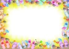 Frame do flip-flop com cocktail Imagens de Stock Royalty Free