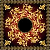 Frame do fundo com teste padrão do ouro Imagens de Stock Royalty Free