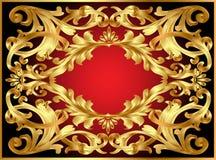 Frame do fundo com teste padrão do ouro Fotografia de Stock