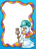 Frame do inverno com boneco de neve bonito Imagens de Stock Royalty Free