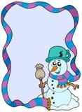 Frame do inverno com boneco de neve dos desenhos animados Fotografia de Stock Royalty Free