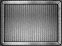 Frame do metal com os parafusos sobre o fundo da grelha Fotografia de Stock Royalty Free
