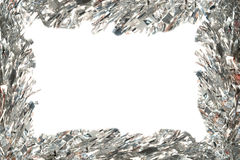 Frame do Natal com ouropel prateado imagens de stock royalty free