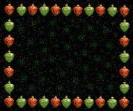 Frame do Natal. Corações vermelhos e verdes ilustração stock