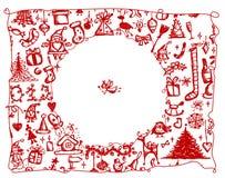 Frame do Natal, desenho de esboço para seu projeto ilustração stock