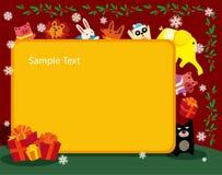 Frame do Natal dos animais Imagens de Stock Royalty Free