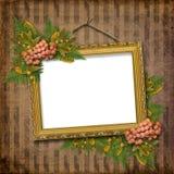 Frame do ouro do retrato com um teste padrão decorativo Foto de Stock