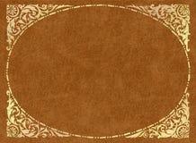 Frame do ouro no couro light-brown Imagem de Stock Royalty Free