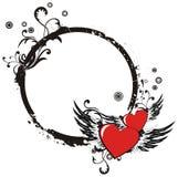 Frame do Valentim de Grunge com dois corações Imagens de Stock Royalty Free