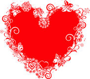 Frame do Valentim de Grunge, coração, vetor Fotografia de Stock Royalty Free