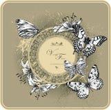 Frame do vintage com lírios e as borboletas de florescência Fotografia de Stock