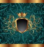 Frame do vintage do ouro com elementos heráldicos ilustração stock