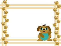 Frame of Dog and Paw Prints Royalty Free Stock Photo