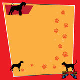 Frame with dogs. Abstract colorful frame with various dog silhouettes and paw prints Stock Image