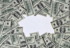 Frame of dollars. Frame made of money, free space for text Stock Photo