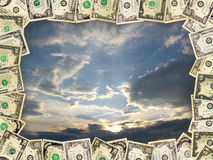 Frame from the dollars on the blue sky Royalty Free Stock Photos