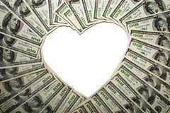 Frame of dollars in form of heart, royalty free stock photography