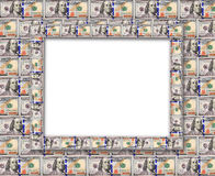 Frame from the dollars isolated on the white Royalty Free Stock Images