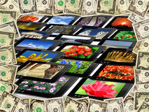 Frame from the dollars on the many tablets Stock Images