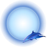Frame with dolphins. Round frame with dolphins, blue colors, white background Royalty Free Stock Photography