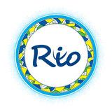 Frame with dots in colors of Brazilian flag for Rio 2016, Brazil. Round decorative frame with abstract mosaic and the word Rio  on white. Frame with dots in Stock Photography