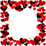 Frame with dotted hearts, plain hearts and plaid hearts Stock Photography