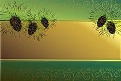 Frame dourado com cones do pinho Fotos de Stock Royalty Free