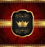 Frame dourado do vintage com coroa Imagens de Stock Royalty Free