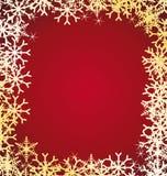 Frame dourado dos flocos de neve. Imagem de Stock Royalty Free