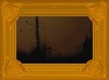 Frame dourado velho da beira com pintura abstrata. Fotos de Stock