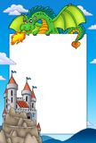 Frame with dragon and castle royalty free stock photography