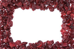 Frame of dried cranberries. Frame made of dried cranberries against white background Stock Image