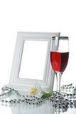 Frame, drinkbeker en orchidee Royalty-vrije Stock Foto