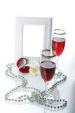 Frame, drinkbeker en orchidee Stock Fotografie