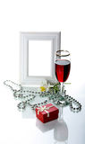 Frame, drinkbeker en orchidee Royalty-vrije Stock Fotografie