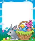 Frame with Easter basket and bunny 1 Stock Photos