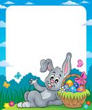 Frame with Easter basket and bunny 2 Stock Photos
