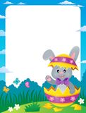 Frame with Easter bunny in eggshell Stock Images