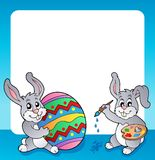 Frame with Easter bunny topic 3 Royalty Free Stock Photography