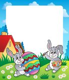 Frame with Easter bunny topic 6. Eps10 vector illustration Stock Image