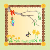 Frame easter eggs and a birch twig vector Stock Images