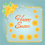 Frame easter eggs and daffodils turquoise background vector Royalty Free Stock Photo