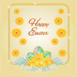 Frame easter eggs and daffodils vector Royalty Free Stock Photography