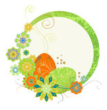 Frame with Easter eggs and flowers Stock Photography