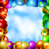Frame of Easter eggs Stock Images