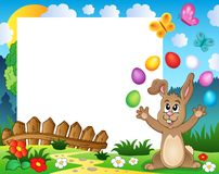 Frame with Easter rabbit theme 4. Eps10 vector illustration Royalty Free Stock Photo