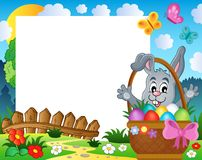 Frame with Easter rabbit theme 3. Eps10 vector illustration Royalty Free Stock Photo
