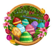 Frame with eggs, flowers isolated on white Royalty Free Stock Photo