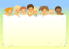 Frame with eight baby's heads. The eight children of different age and nationalities look out from white sheet. Spring or summer day. Possible they on beach or Royalty Free Stock Photos