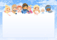 Frame with eight pretty baby's heads. Winter. The eight children of different age and nationalities look out from white sheet. Winter. Snow and clouds. The Royalty Free Stock Images
